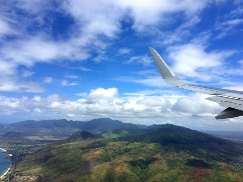 Oahu from airplane window