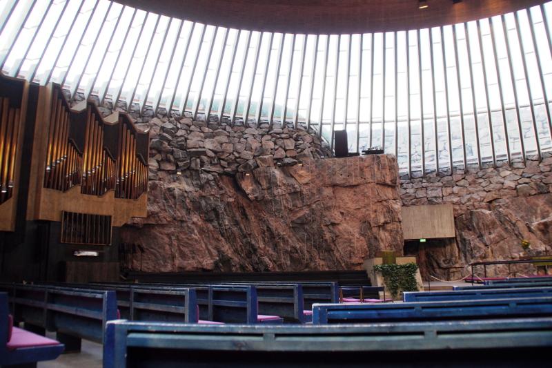 Felsenkirche Helsinki an einem Tag
